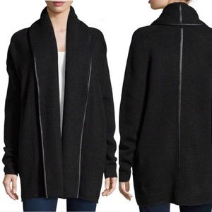 Vince Wool-Blend Leather-Trimmed Cardigan S